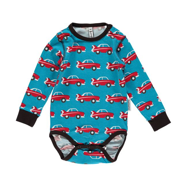 Retro car bodysuit for babies and toddlers. Made by Swedish brand Maxomorra.