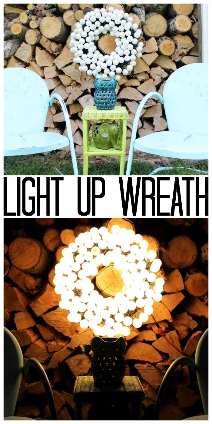 Make this light up wreath for your outdoor patio or deck! A gorgeous way to add some light to your space!