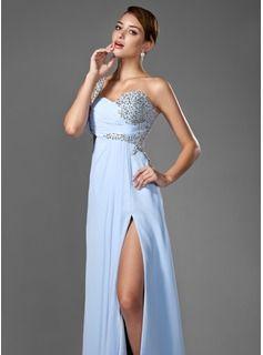 A-Line/Princess One-Shoulder Floor-Length Chiffon Prom Dress With Ruffle Beading Sequins Split Front (018005108) - JenJenHouse