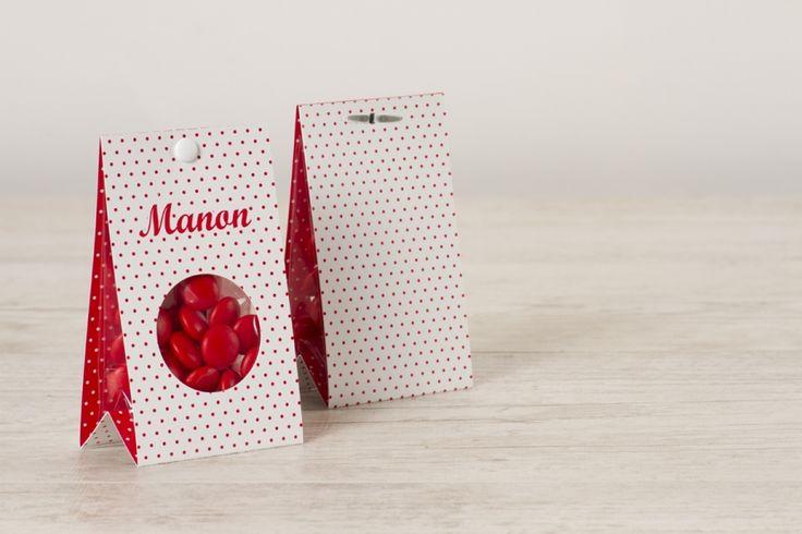 Snoepzakwikkel wit met rode stippen  | Tadaaz #geboorte #geboortekaart
