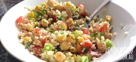 QUINOA VEGGIE SALAD: Salads are a great way to serve your children raw vegetables to crunch on. This vegan inspired salad has the added benefit of quinoa, our favourite super food #onehandedcooks