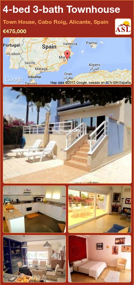 4-bed 3-bath Townhouse in Town House, Cabo Roig, Alicante, Spain ►€475,000 #PropertyForSaleInSpain