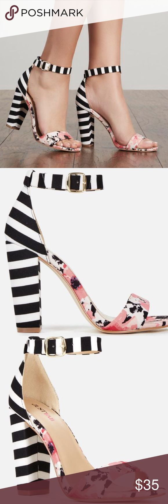 "JustFab Floral/Striped Sandal Heel Perfect shoe to add ""pop"" to your outfit.  4-inch heel. Brand new, never worn. JustFab Shoes Sandals"