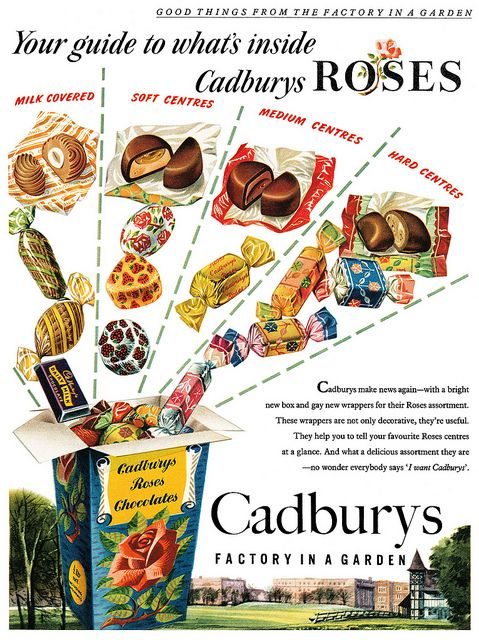 A taste bud tempting guide to what's inside Cadbury Rose candies. 1950's - I love Cadbury's Roses do they still make them?