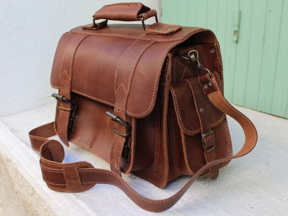 Messenger Bags Leather satchelleather messenger bag by EATHINI