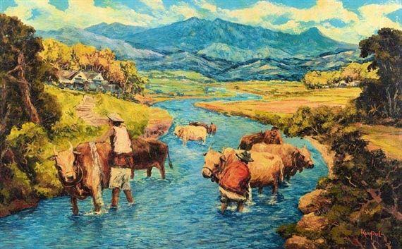 Artwork by Sujatno Koempoel, Bathing Buffalo, Made of Oil on canvas