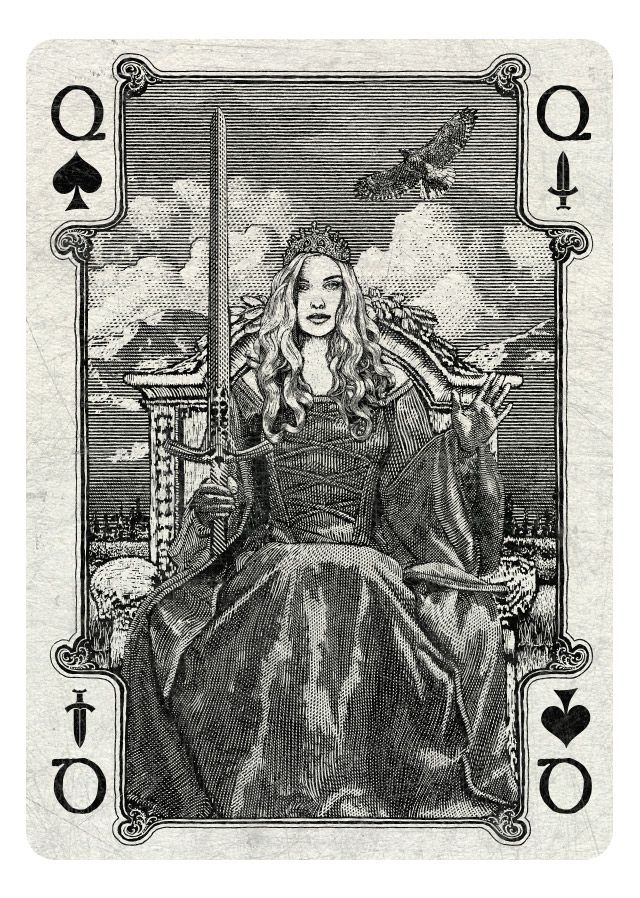 ARCANA playing cards by Chris Ovdiyenko - Kickstarter.  Queen of Spades/Swords
