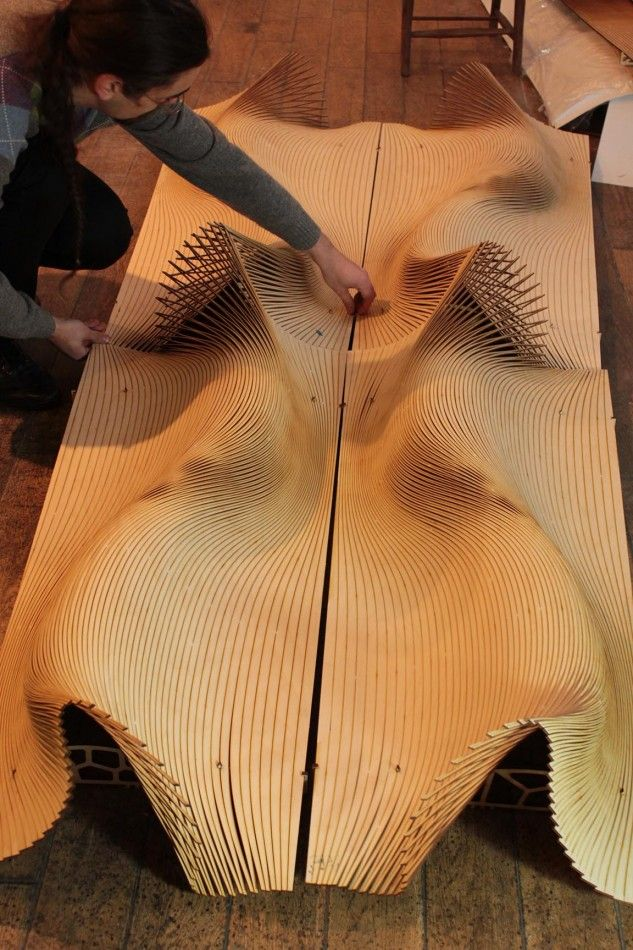 The Wooden Waves - Buro Happold -  Testing a lasercut prototype from the parametric model at the FabPub ©Mamou-Mani