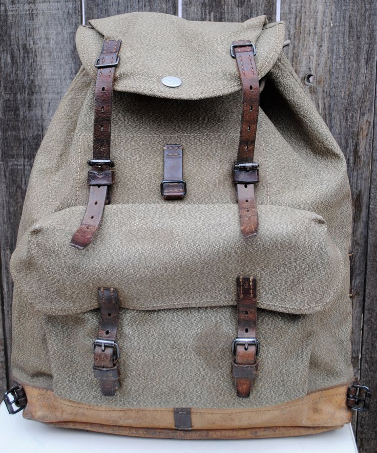 Vintage Swiss Army Canvas Leather Rucksack Back Pack