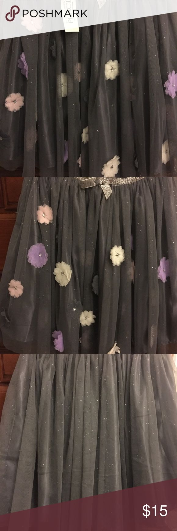Kids ToTo Beautiful ToTo with flowers that has Lil diamond stubs in center of flower, silver sequins bow in center of waist band  and linen under for extra comfort The Children's Place Bottoms Skirts