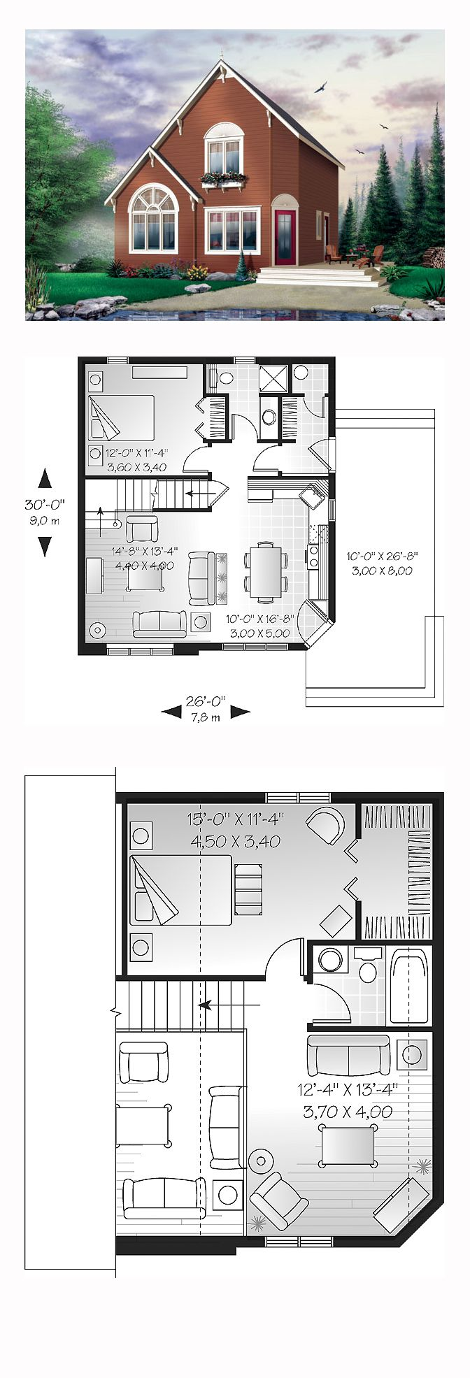 Saltbox House Plan chp 26493 16 best Saltbox