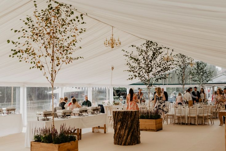 Here come the hungry guests! Photo by Benjamin Stuart Photography #weddingphotography #receptiondecor #weddingbreakfast #marqueewedding #countrywedding #sitdownmeal
