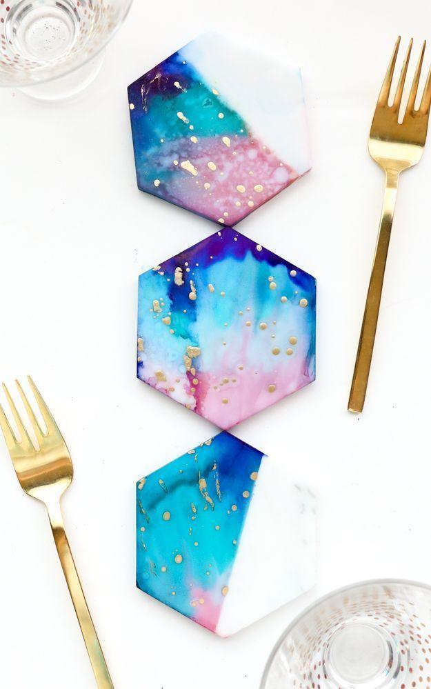 DIY Galaxy Color Blocked Marble Coasters!
