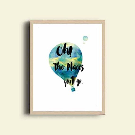 Printable Art Nursery Print Oh The Places You'll Go by DaniJArts