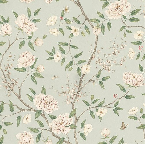Romey's Garden Sea Green wallpaper by Zoffany