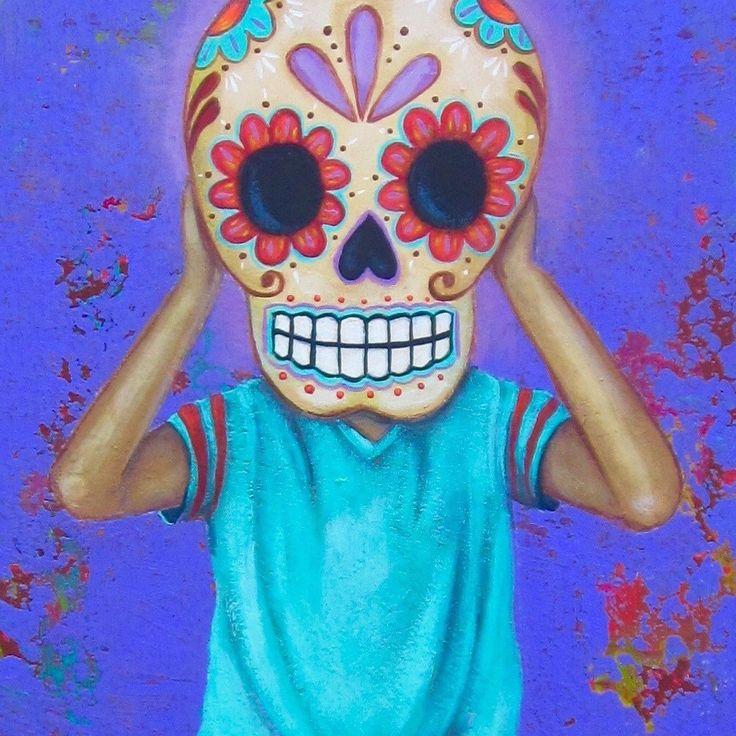 Niño con cabeza de calavera de Día de Muertos By: Emily Costello