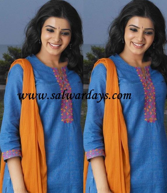 samantha in blue simple cotton salwar kameez
