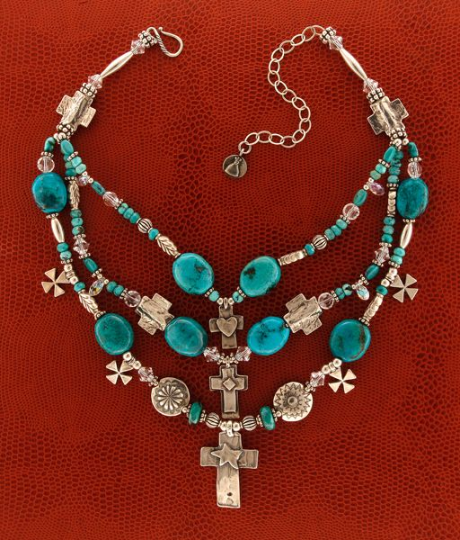 Mummy's Bundles Turquoise and Crosses Necklace from Smith and Western