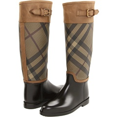 Burberry Smoked Check Leather Trim Rain Boots