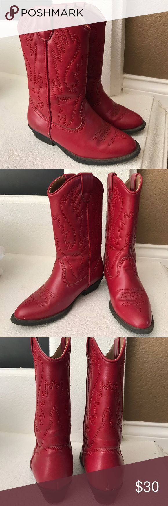 Nordstrom Girls Red Cowboy boots The cutest little western boots... deep red color... hardly worn... you will love these on your little! Nordstrom Shoes Boots