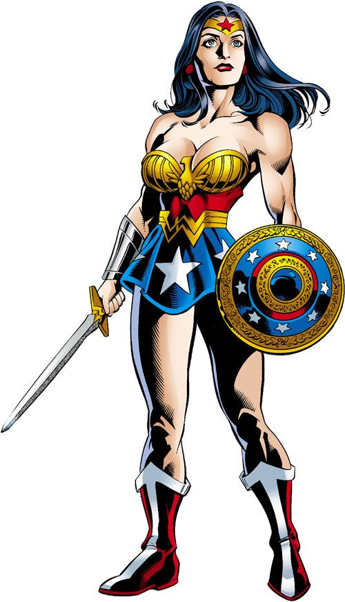 #WonderWoman (DC Comics) (Queen Hippolyta) JSA with sword and shield. From http://www.writeups.org/wonder-woman-hippolyta-jsa-dc-comics/