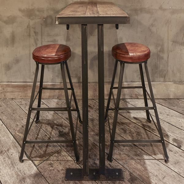 Tall Vintage Real Leather Metal Work Bar Stool 32 Inch