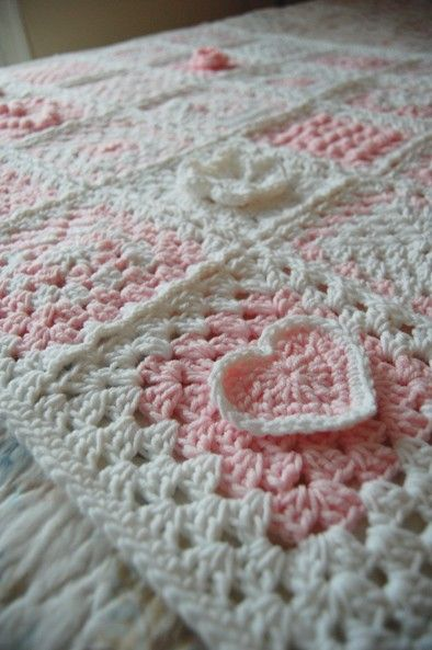 Hearts in Bloom - Sampler Patchwork Granny Square Afghan - Pink and White