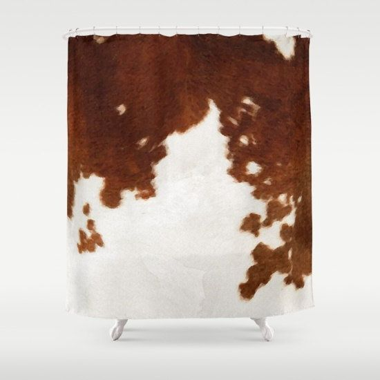 Cowhide Shower Curtain Cow Print Shower Curtain Country