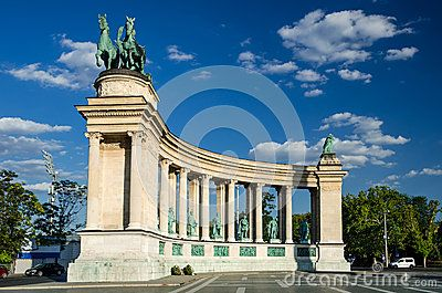 Heroes Square is one of the major attraction of Budapest, Hungary, rich with historic and political connotations, completed in 1900.