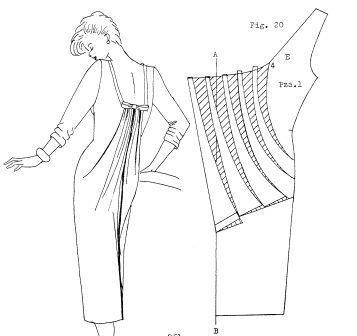 moldes de vestido drapeado en espalda