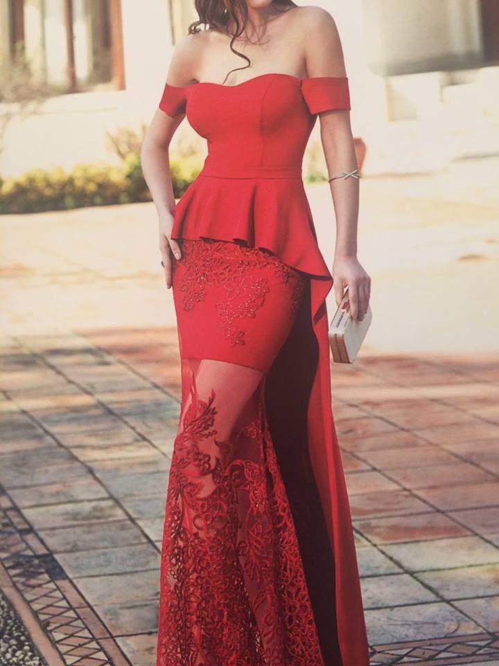 Robe libanaise rouge courte à bustier avec voile