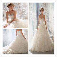 2015 nuevo por encargo Vestido De Noiva marfil / blanco De Organza De raso plisado riza perlas rebordear sin tirantes De una línea Vestido De novia