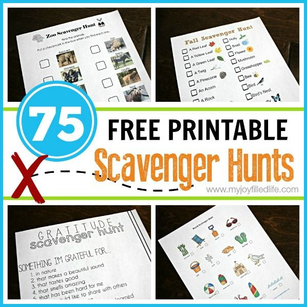 75 FREE Printable Scavenger Hunts - a list of 75 free printable scavenger hunts listed by category from My Joy-Filled Life