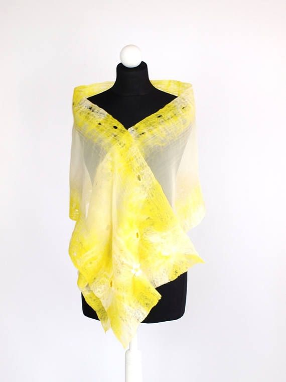 Nunofelted scarf Sunny Weeding shawl Unique 3D pattern
