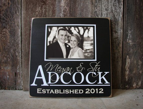Meaningful Wedding Gift For Older Couple : Custom Wedding wooden Picture Frame- personalized with couples first ...