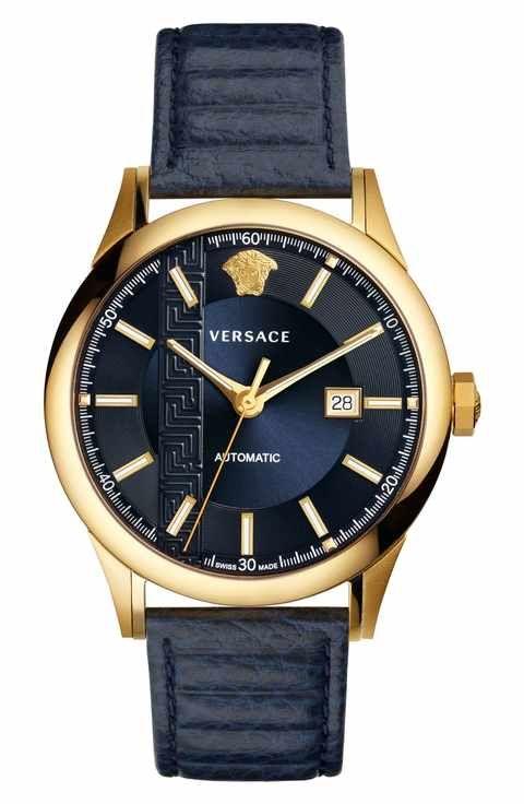 d9b2b52e6b Versace Aiakos Automatic Leather Strap Watch