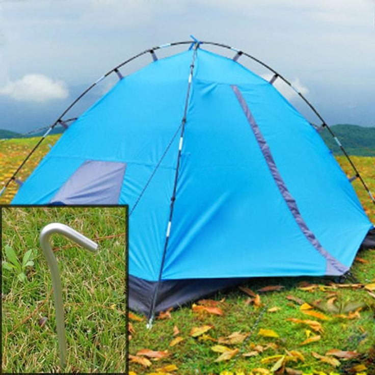 [Visit to Buy] 4pcs/set Aluminum Skidproof and Steady Metal Tent Pegs Stakes Hook Design Outdoor Camping Tent Nail  B2C Shop #Advertisement