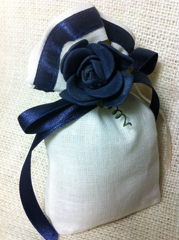 Blue flower linen favour bag.