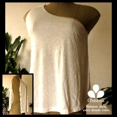 Camiseta femenina con un costado abierto para mujeres que tienen brazos inmovilizados o   cirugías en costados y pecho. Encuentra más en www.costubiva.com