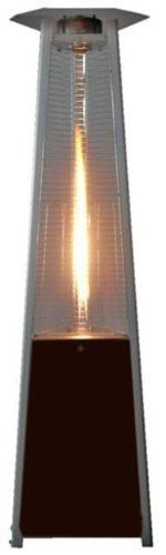 True Commercial (Natural Gas) Hammered Mocha Bronze 3-Sided Pyramid Style Quartz Tube Patio Heater with Wheels (NG)
