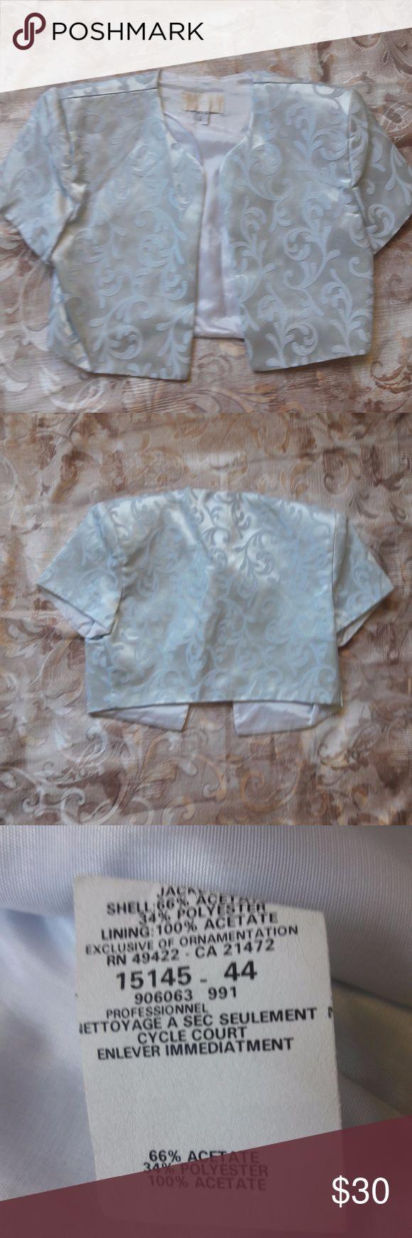 Scott McClintock Women's 6 Pale Blue Silver Short Scott McClintock Women's 6 Pale Blue Silver Short Sleeve Jacket Formal Top Scott McClintock Jackets & Coats