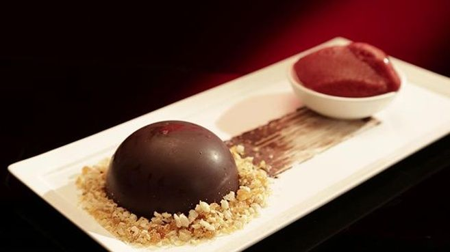 Chocolate Mousse Dome with Cherry Sorbet