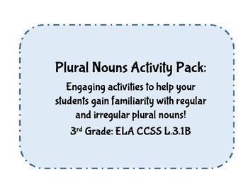 **FREE FOR FIRST TWO WEEKS**Use this packet to introduce and familiarize your students with regular and irregular plural nouns. Five activity suggestions / tasks are included in this packet. Word cards, plural noun lists, and task cards all included.Also can be used as an ELA center activity.