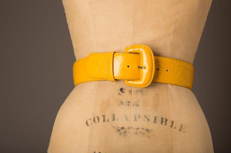 1980s Wide Leather Yellow Belt | Lejon by BloomersAndFrocks on Etsy