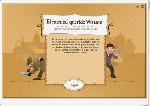 """""""Elemental querido Watson"""" es un conjunto de juegos de la Junta de Castilla y León que recorren los elementos más importantes de la Ortografía en el final de la Educación Primaria y el inicio de la Educación Secundaria Obligatoria. Signos de puntuación, tildes, tilde diacrítica, diptongo, dudas más habituales y palabras aceptadas o no por la Real Academia de la Lengua."""