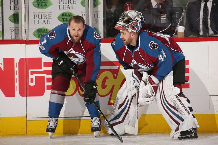 DENVER, CO - MARCH 29: John Mitchell #7 and goaltender Jeremy Smith #40 of the Colorado Avalanche talk during warm ups, prior to the game against the Washington Capitals at the Pepsi Center on March 29, 2017 in Denver, Colorado. (Photo by Michael Martin/NHLI via Getty Images)