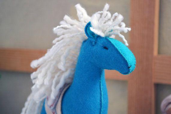 Felt Horse – felt animal – felt toy - waldorf horse - turquoise horse