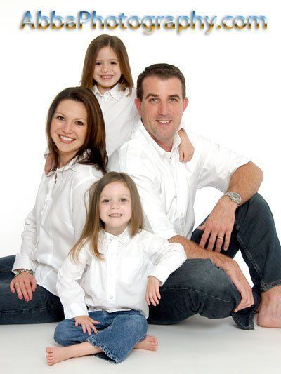 Indoor Orlando, Florida studio portrait taken in jeans and white shirts. www.abbaphotography.com: