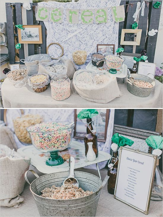 A Cereal Bar with mugs/bowls for the guests to take as favors. Such a sweet idea for a morning or afternoon wedding.