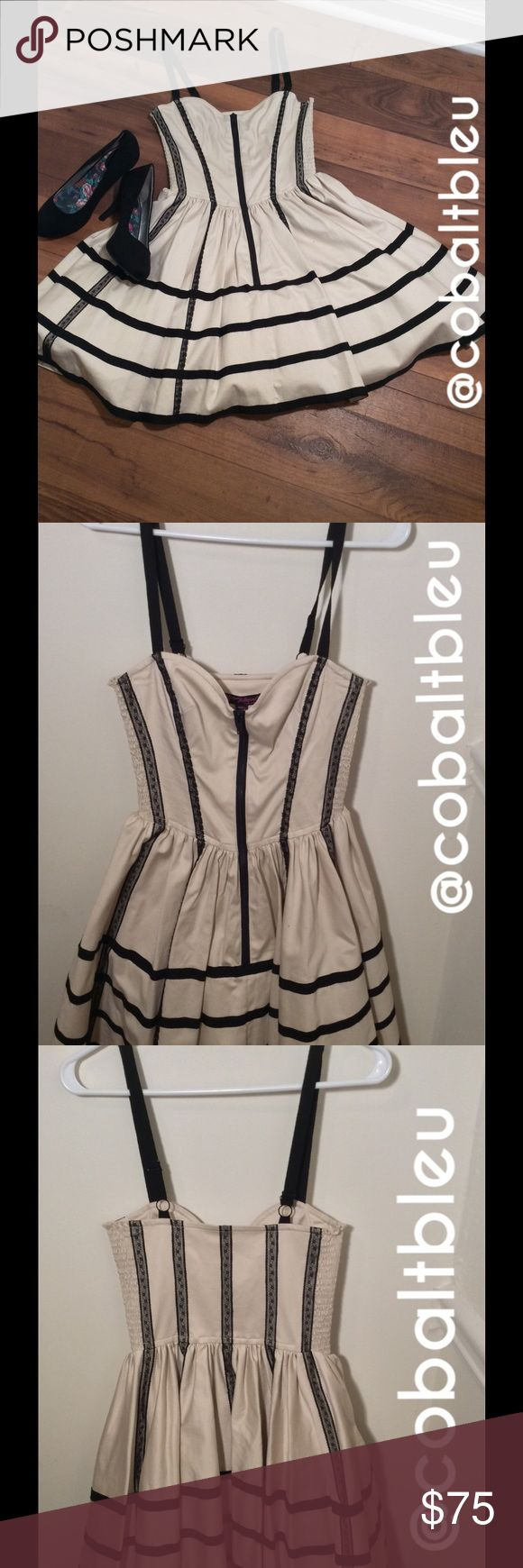 SALEBetsey Johnson Cream party dress✨ 20% off bundles of 2+ items this weekend ONLY!! NWT! This cream dress is very classy, but little elements like the zipper being in the front along with the lace along the back give it a unique and fresh twist. There is tulle underneath, size 2. This listing is for the dress only and does not include the shoes. Betsey Johnson Dresses